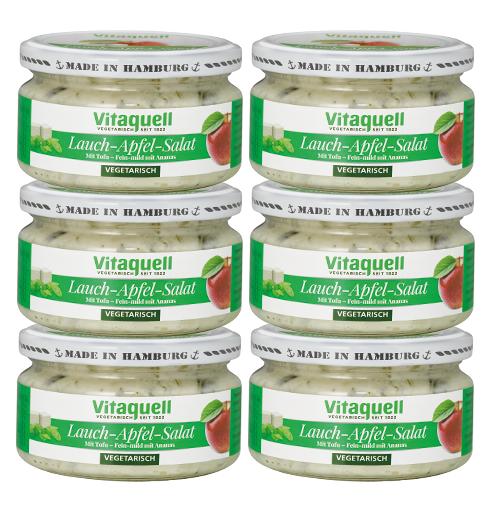 6 x Lauch-Apfel-Salat - vegetarisch, fein mild, 200g