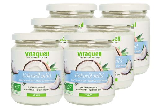6 x Kokosöl Bio, mild, geschmacksneutral, 215 ml