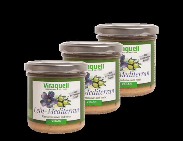 3 x Leinölaufstrich Mediterran Bio, 130 g