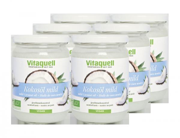 6 x Kokosöl Bio, mild, geschmacksneutral, 430 ml