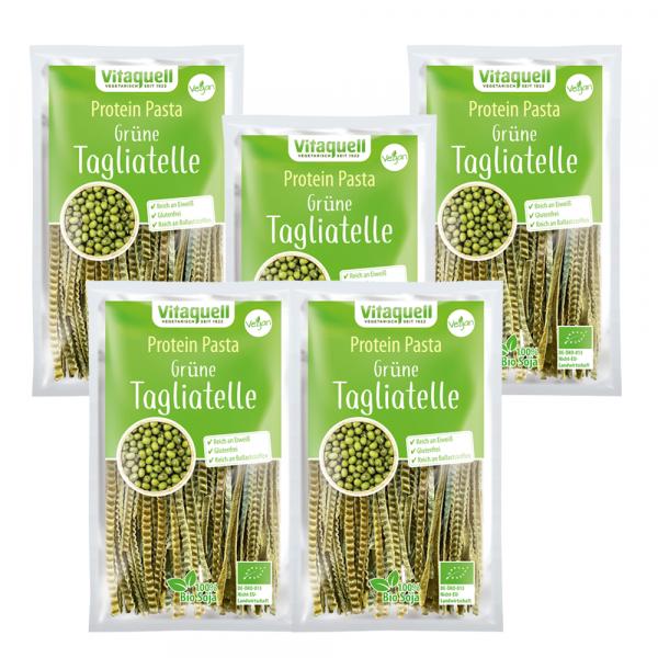 5 x Protein Pasta Grüne Tagliatelle Bio, 200 g