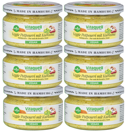6 x Veggie Potpourri mit Kurkuma-Salat - vegan, fruchtig-lecker 180 g