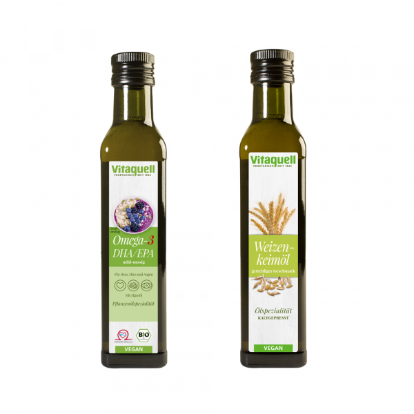 Bestseller-Set: Omega 3 DHA Öl, 250 ml + Weizenkeimöl, 1. Pressung 250 ml