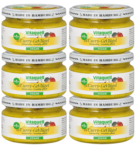 6 x Curry-GeVlügel-Salat vegan fruchtig-pikant, 180 g